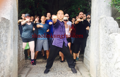 Students training Kungfu in Song mountain of Shaolin temple.