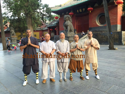 Masters and foreign students in Shaolin Temple